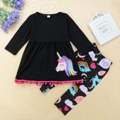 Girls' Daily Geometric Galaxy Animal Print Clothing Set, Cotton All Seasons Long Sleeves Cute black GH164A 90