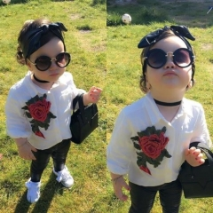 New Rose Flower White Blouse+PU Leather Pants Kids Girl's Clothing Sets white GX586A 130