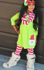 Girls' Going out Holiday Solid Striped Patchwork Clothing Set, Cotton Long Sleeves Cute light green GH183A 100