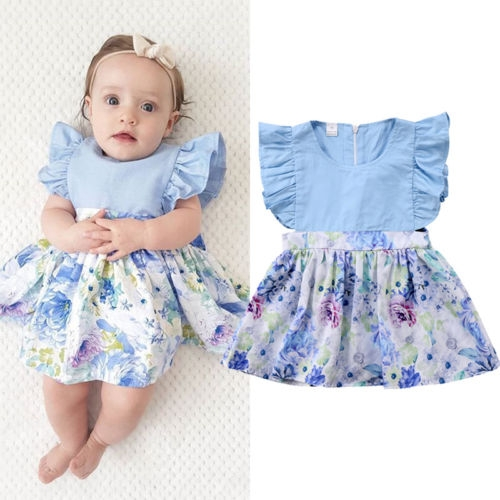 5740429d4 Girl's Party Holiday Solid Colored Patchwork Jacquard Dress, Rayon  Sleeveless Cute Boho light blue LG058A 100: Product No: 379080. Item  specifics: Brand: