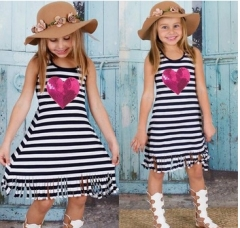 Girl's Going out School Striped Dress, Cotton Summer Fall Sleeveless Active Boho black DH036A 90