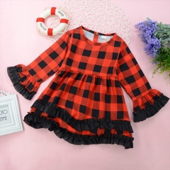 Girl's Daily Going out Geometric Print Dress, Polyester All Seasons Long Sleeves Vintage Cute red 80