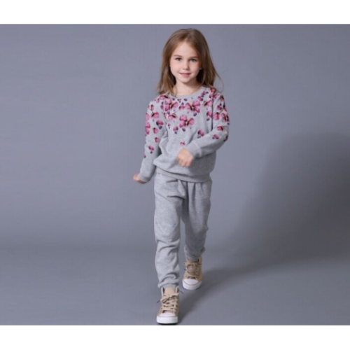 Girls' Solid Floral Clothing Set, Modal Long Sleeves Seperate Bodies Casual light gray GX588B 90