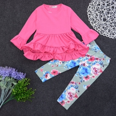 Girls' School Solid Colored Floral Clothing Set, Cotton Long Sleeves Cute Boho pink GD158A 80