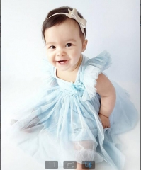 Girl's Daily Holiday Solid Dress, Rayon Summer All Seasons Sleeveless Cute light blue HY054A 90