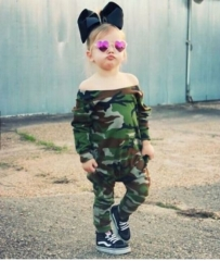 Cool Infant baby Girl Off Shoulder Camouflage Jumpsuit Coverall Bodysuit Fashion army green ZM108A 80