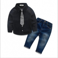 2 colors Kids Gentleman Boy Necktie Shirts+Denim Pants Party Wedding Formal Suit black HH014A 130