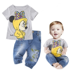 BABY Boys Girls Clothing Set Cartoon Pattern Cute Kids Clothes Toddler Outfit light gray 90