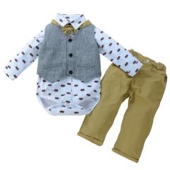Boutique Gentleman Infant Boys Bow Tie Romper+Bib Pants+Vest Formal Suit gray 70