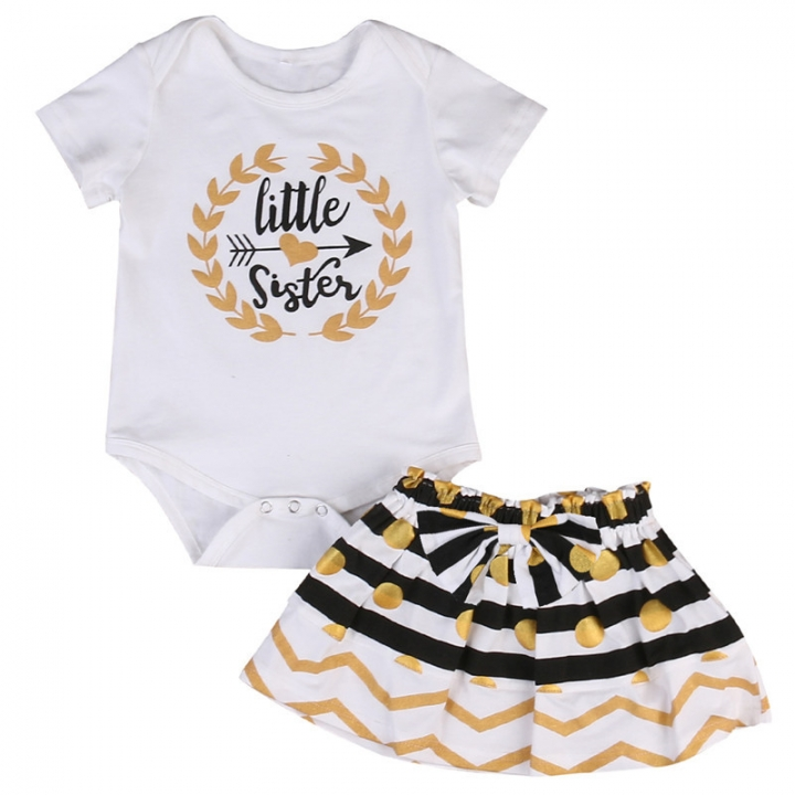 49bdeaf86 Children's clothing Fashion Newborn Kid Baby Girl Little sister Short sleeve  T-shirt +Striped