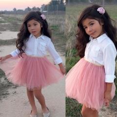 Baby Girl Dress Clothing Set Long Sleeve Shirt+Pink Skirt Kids Clothes pink 90