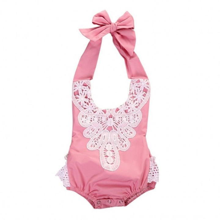 Children's clothing Newborn Toddler Baby Girls Floral Lace Bodysuit Romper 0-24M pink GG170B 6m