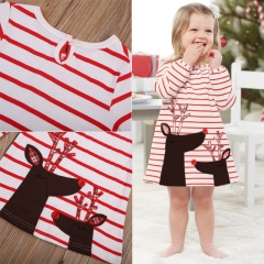 Baby Girls Clothing Deer Print Striped Dresses Bebe Girls Casual Kids Clothes red GGG078A 100