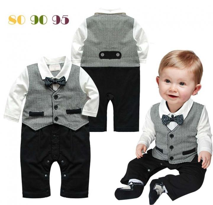 Newborn baby Boys Formal Romper Bodysuit Suit gray GX285A 90