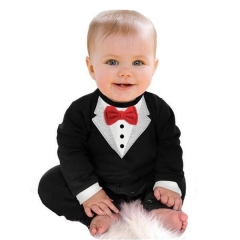 Baby Boys Rompers Bowtie Gentleman Formal Jumpsuits Body Suits black GX446A 70