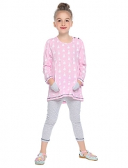 Girls' Colored Striped Clothing Set, Modal Spring Fall Long Sleeves Simple Chinoiserie Blushing pink GX562B 90
