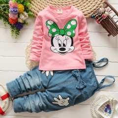 BABY Girl Clothing Set Long Sleeve Shirt+denim Pants Mikey Mouse Kids Clothes pink GZ041A 90