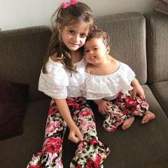 Newborn Baby Toddler Kid Girl Clothing Set Short Sleeve White Shirt+Floral Pants white 90