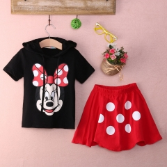 Kids Girl Boy Cartoon Hoodie tops+buttom Summer Clothing Sets Fashion red girl GD020A 100