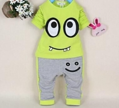 Baby Boy Clothing Set Summer Kids Suit Toddler Outfit Short Sleeve+Pants green GX437B 90