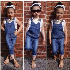 Baby Girls Clothing Set t-shirt+denim overall bib jeansToddler outfits royal blue 100