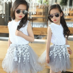 2pcs Kids Baby Girl Fashion Dress White Blouse+Lace Skirt Princess Wedding Dress gray 110