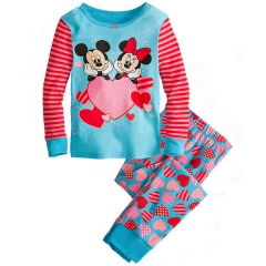 Baby Girl Clothing Set Kids Pajamas Red Striped Clothing Toddler Mini Mouse blue GG084B 90