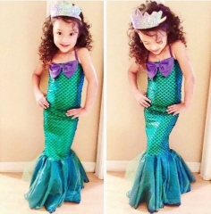 Kid Ariel Little Mermaid Set Girl Princess Dress Party Cosplay Costume Outfits dark green GGG029A 100