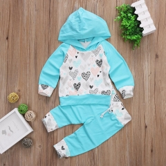 Fresh Blue Baby Girls Boys Heart Hooded Casual Outwear Tops+Pants Clothing sets light green GC194A 80