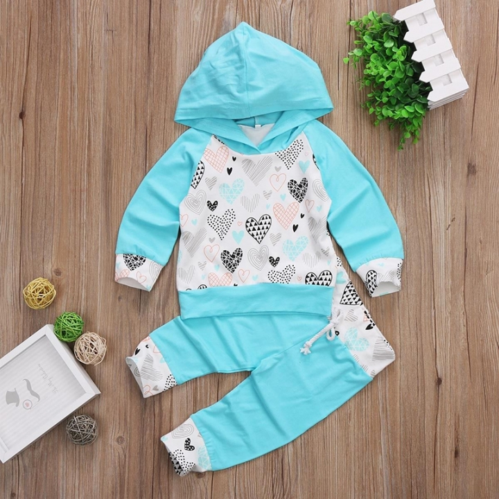 Fresh Blue Baby Girls Boys Heart Hooded Casual Outwear Tops+Pants Clothing sets light green GC194A 70