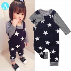 Baby boys girls Clothing Set Kid Outwear Boy Clothes Toddler Shirt+overalls set royalblue GG137B 70