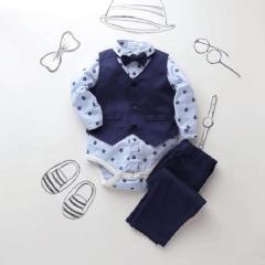 Infant Baby Boys Formal Suits Light Blue Diamond Bowtie Romper Vest Pants 3pieces Clothing Sets royalblue HH021A 70