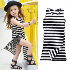 Baby Girl Striped Vest Shirt Casual Dresses Todder Kids Sundress black white CR020A 100