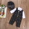 Baby Clothes Fake Two Piece Plaid Romper Brown Bow Botton Jumpsuit Hat Bebe Outfit Kids Clothes brown HH055A 3