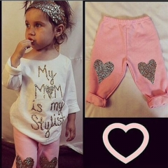 Baby Girl Clothing Set 2pcs Long Sleeve Shirt+Pink Pants Toddler Kids Outfit pink GGG133A 80