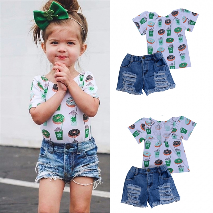 68b4f672e9703 Baby Girls Clothing Sets Doughnut Print Tops Ripped Denim Short Jean Kids Girls  Clothes Suits blue