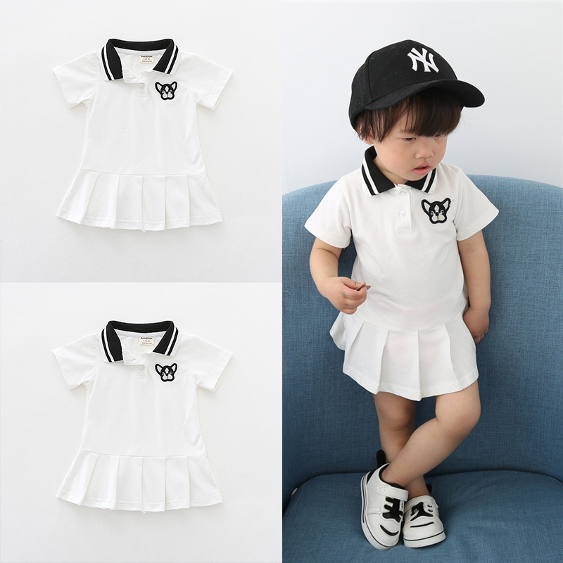 d767e8f2e Baby Girls Clothes 2 Color Ruched Dog Print Solid Dresses Bebe Girls ...