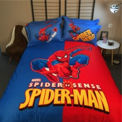 4pcs 100% Cotton Bedding Sets Spider-Man Fashion Duvet Cover Flat Sheet 2*Pillow Cases spider-man 4*6