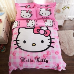 4pcs Emerizing Thick 100% Cotton Cartoon Bedding Sets Quilt Duvet Cover Flat Sheet 2 Pillow Cases Hello Kitty 4*6