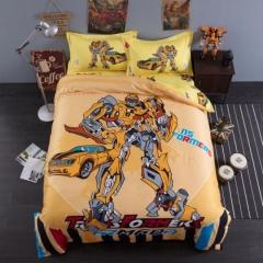4pcs Reactive print 100% Cotton Cartoon Autobots Bedding Sets Flat Sheet Duvet Cover 2 Pillow Cases bumblebee 5*6