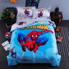 4pcs Reactive print 100% Cotton Cartoon Bedding Sets Flat Sheet Duvet Cover 2 Pillow Cases spider-man 4*6