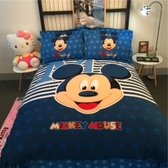 4pcs Emerizing Thick 100% Cotton Cartoon Bedding Sets Quilt Duvet Cover Flat Sheet 2 Pillow Cases mickey mouse 6*6