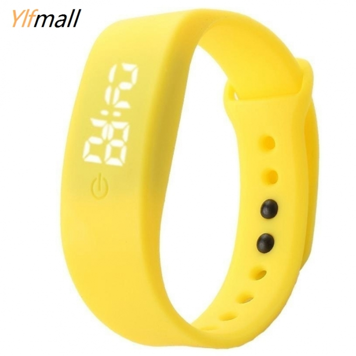 Silicon Strap Watch Date Sports Bracelet Digital LED Wrist Watch Best Present for Women & Men yellow