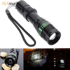 3000 Lumen Zoomable XM-L Q5 LED Zoom Lamp Flashlight Torch black one size