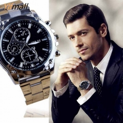 Men Fashion Butterfly Analog Quartz Watch PU Leather Band Rhinestone Wst Watch silver & black