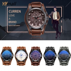 Wonderful Men Quartz Wristwatch Creative Leather Strap Sports Watch A