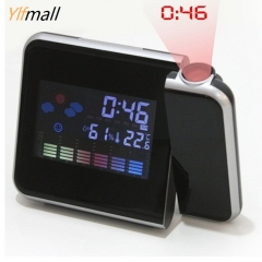 Electronic Color Screen LCD Backlight Projection Snooze Alarm Clock Creative Morning Clock black one size