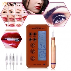 Electric Digital Permanent Makeup Machine Microblading Pen Eyebrow Lip Pen + Cartridge Needles rose gold