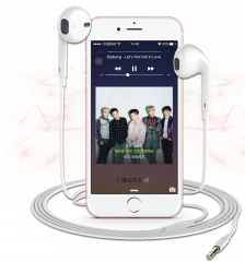 Universal Android, IOS, ear headphone microphone white