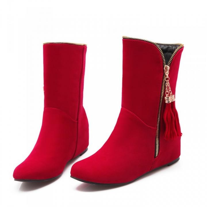 7b8d28d11 Faux Suede Tassel Flat Ankle Boots Women Shoes Red US 8 386216 ...